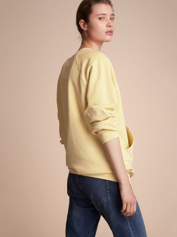 Unisex Pigment-dyed Cotton Oversize Sweatshirt in Pale Yellow - Women | Burberry Hong Kong - cell image 2