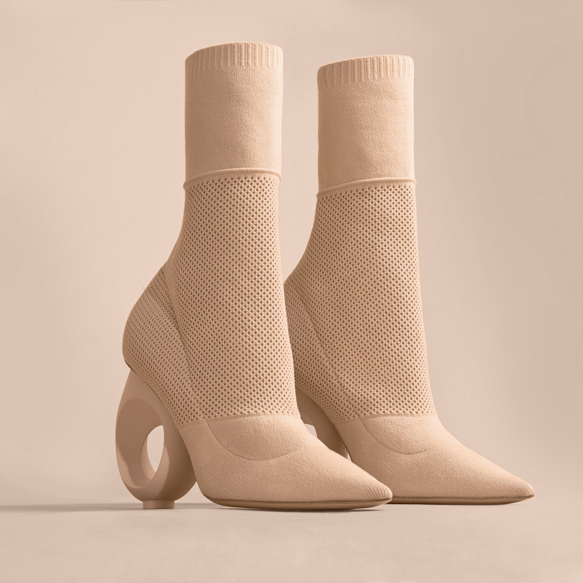 Mid-calf Knitted Boots with Sculpted Heel in Nude - gallery image 4