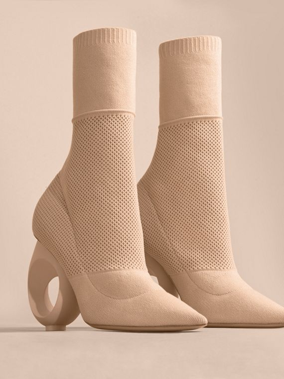 Mid-calf Knitted Boots with Sculpted Heel in Nude - cell image 3