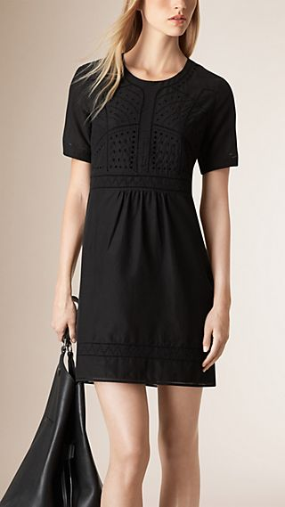 Broderie Anglais Detail Cotton Silk Dress