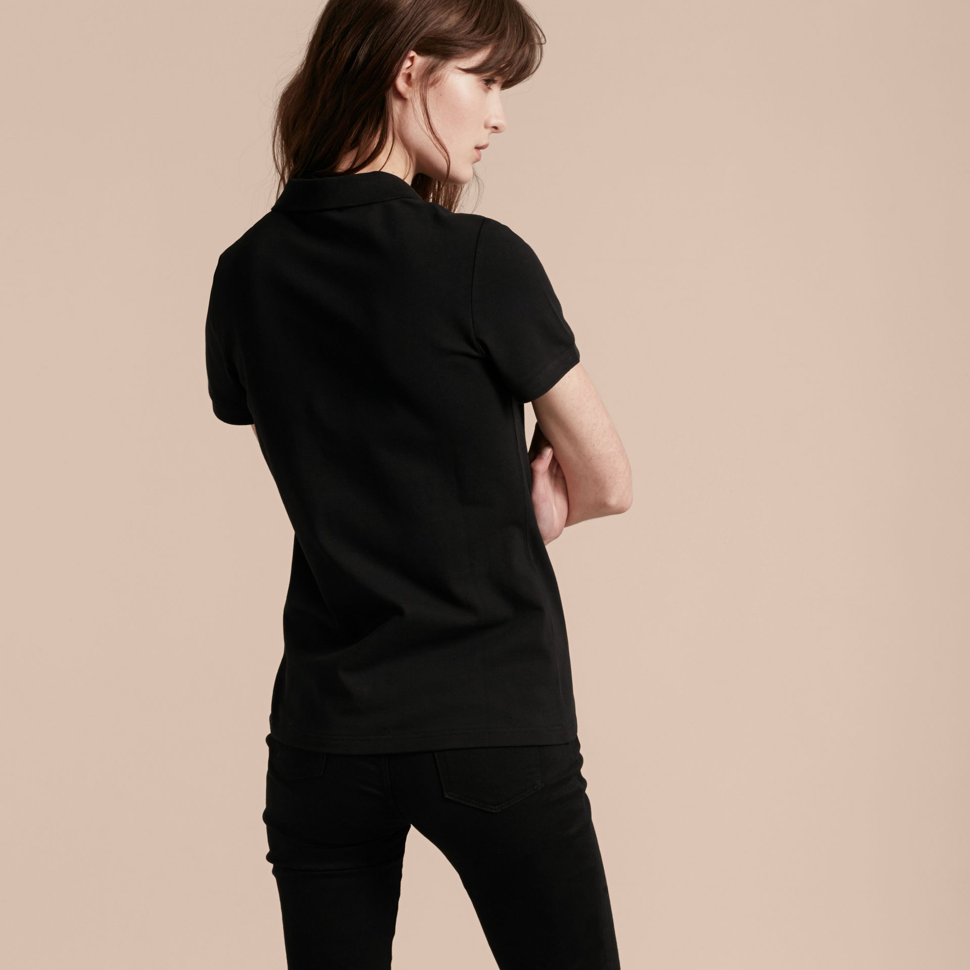 Black Stretch Cotton Piqué Polo Shirt Black - gallery image 3