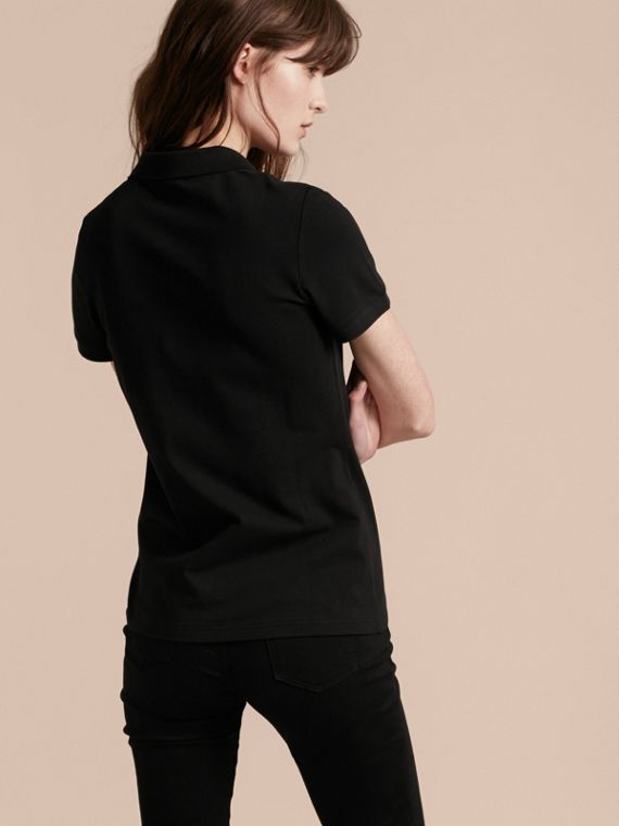 Black Stretch Cotton Piqué Polo Shirt Black - cell image 2