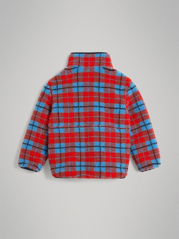 Check Fleece Half-Zip Jacket in Bright Red - Boy | Burberry United Kingdom - cell image 3