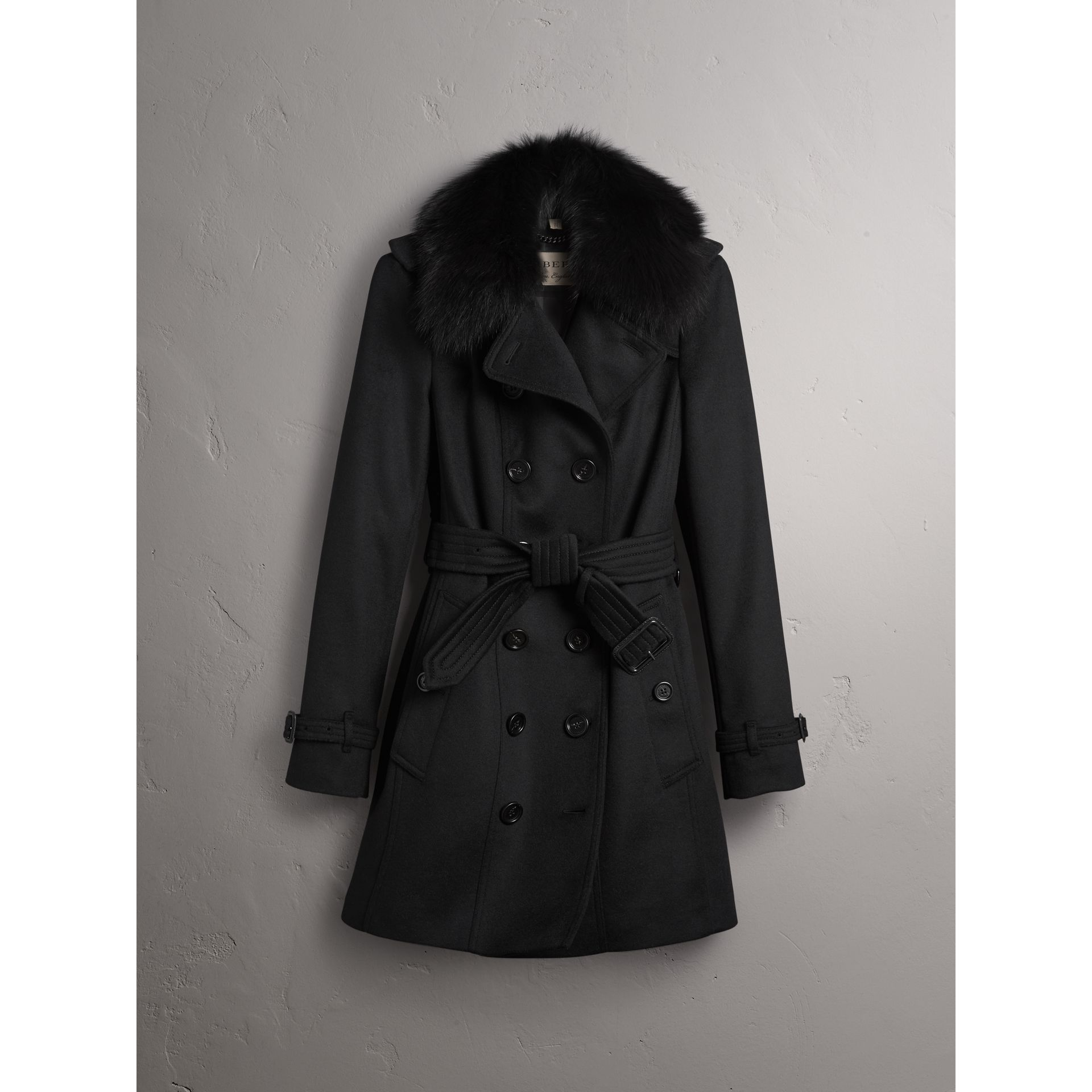 burberry wool cashmere trench coat with fur collar in black modesens. Black Bedroom Furniture Sets. Home Design Ideas