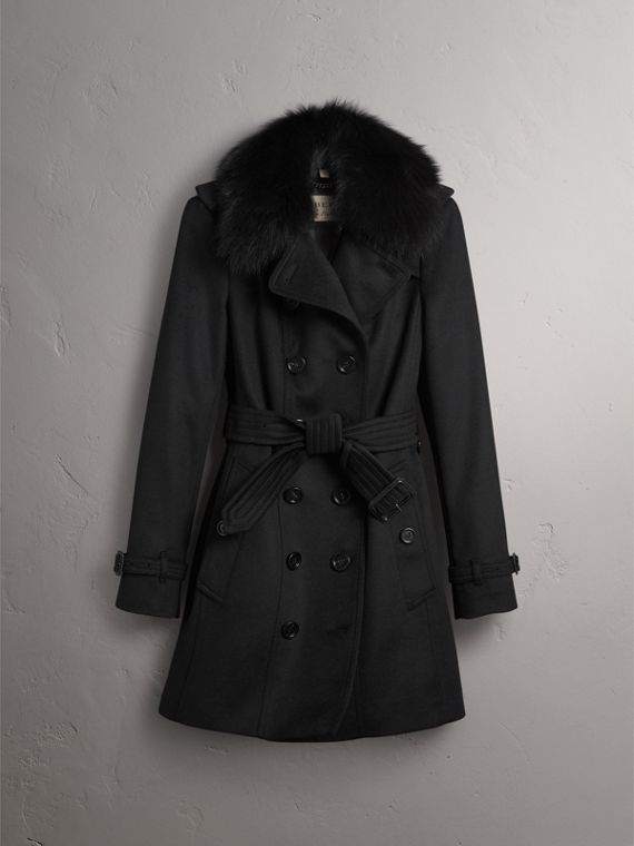 Wool Cashmere Trench Coat with Fur Collar in Black - Women | Burberry Singapore - cell image 3