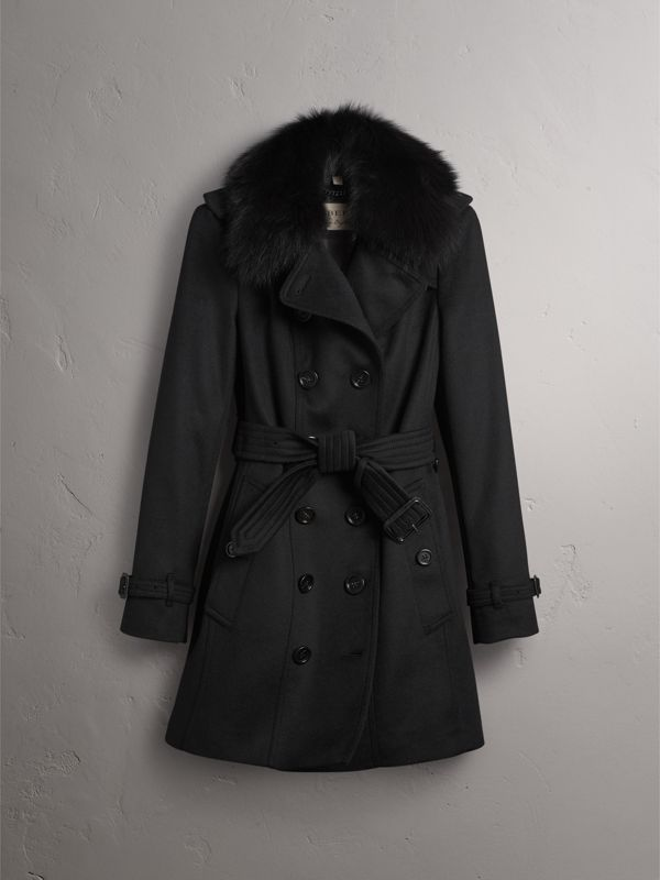 Wool Cashmere Trench Coat with Fur Collar in Black - Women | Burberry - cell image 3