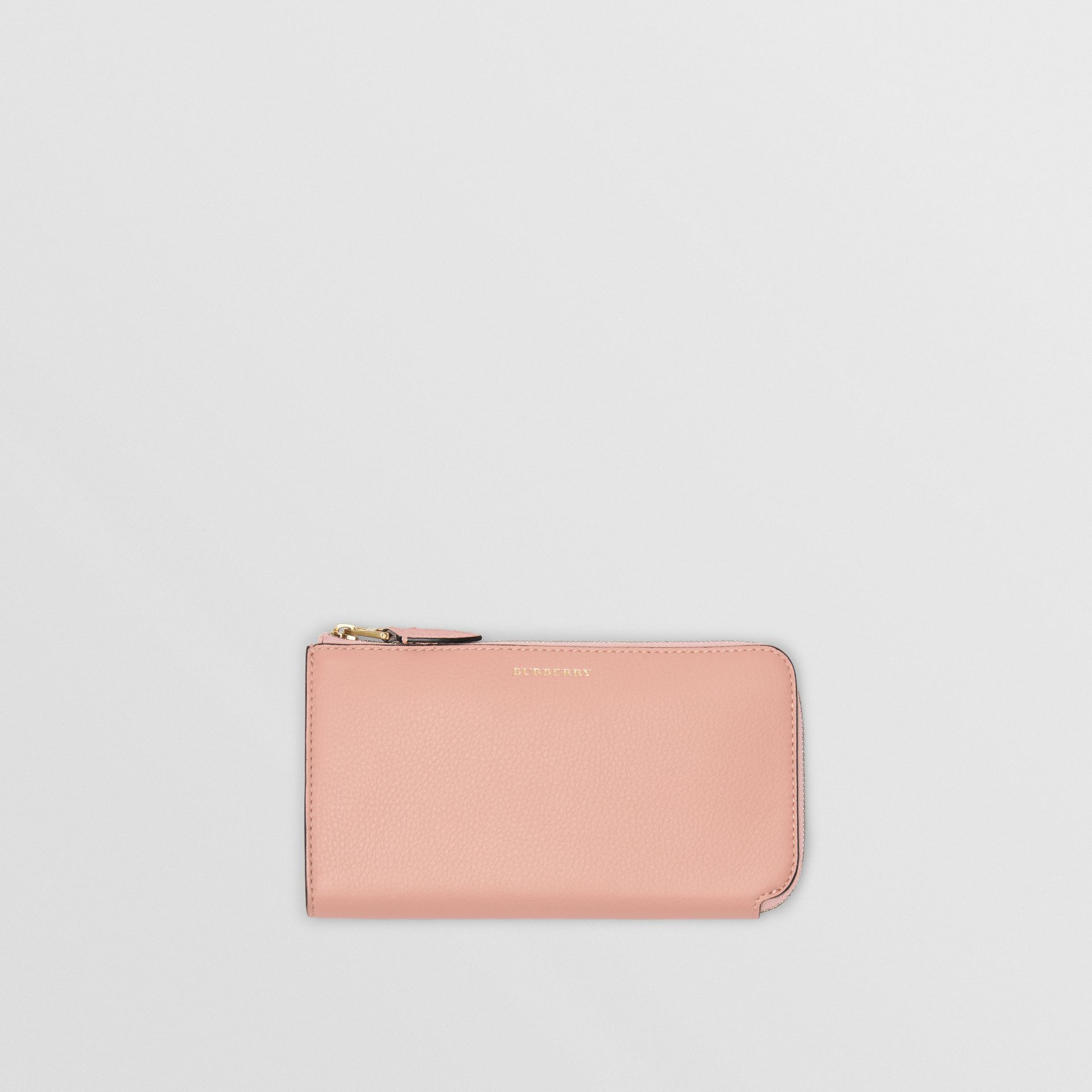 Two-tone Leather Ziparound Wallet and Coin Case in Ash Rose - Women | Burberry - gallery image 0