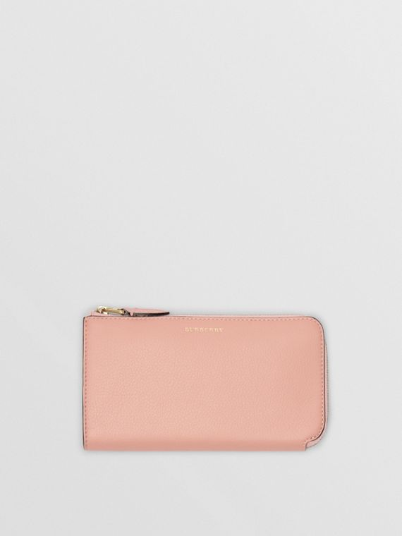 Two-tone Leather Ziparound Wallet and Coin Case in Ash Rose