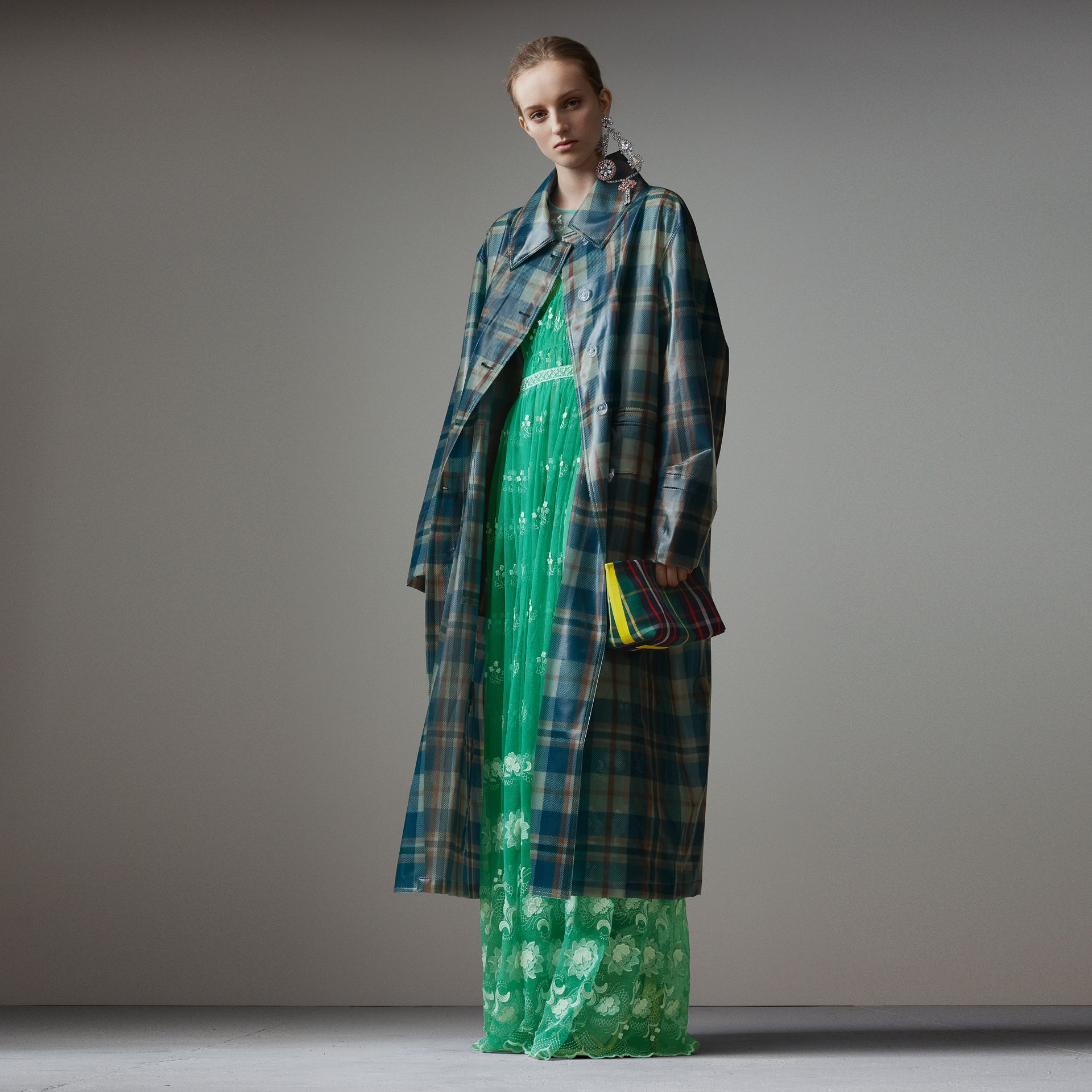 Tartan Soft-touch Plastic Oversized Car Coat in Blue/orange - Women | Burberry - gallery image 0