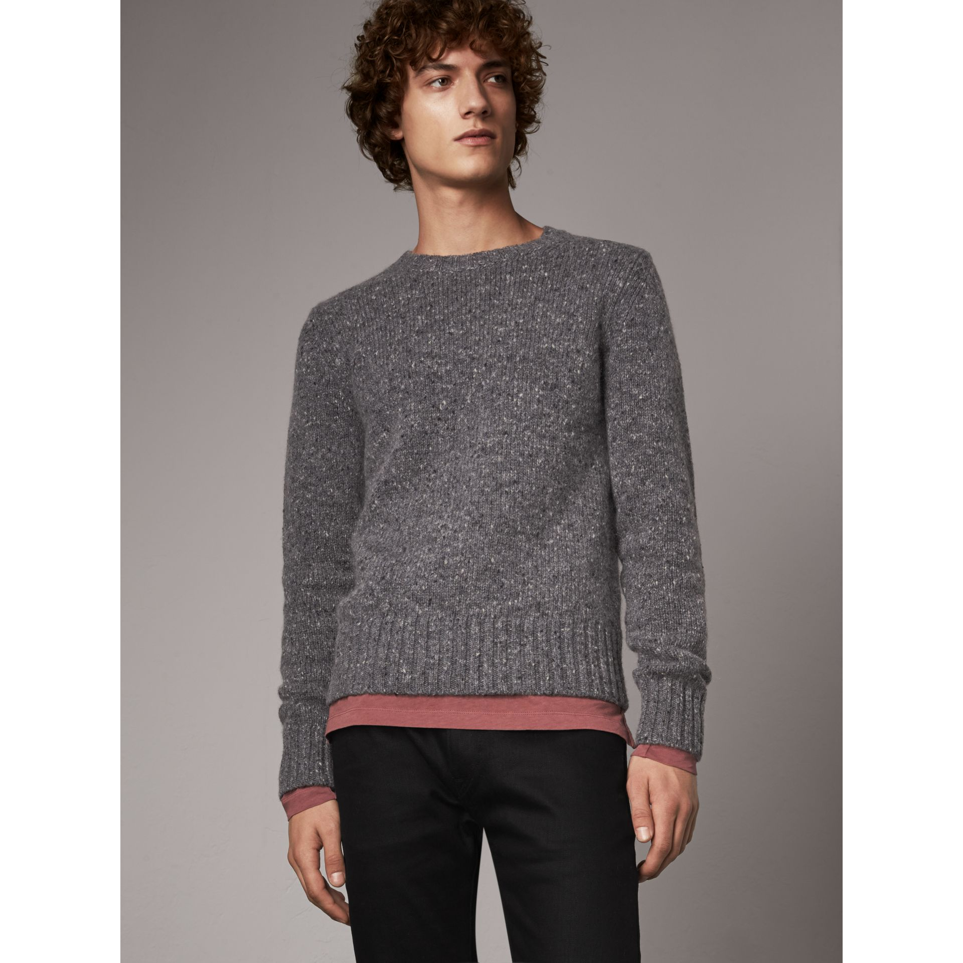 Wool Cashmere Mohair Tweed Sweater in Dark Grey Melange - Men | Burberry - gallery image 1