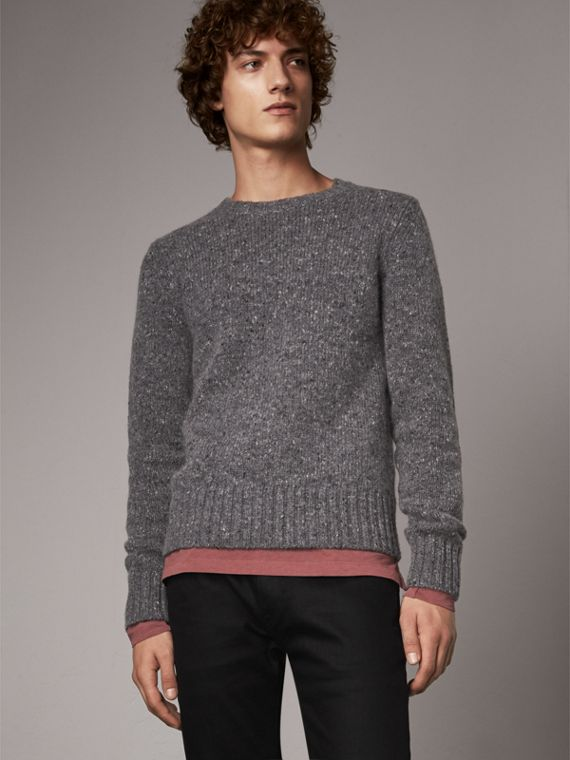 Wool Cashmere Mohair Tweed Sweater in Dark Grey Melange