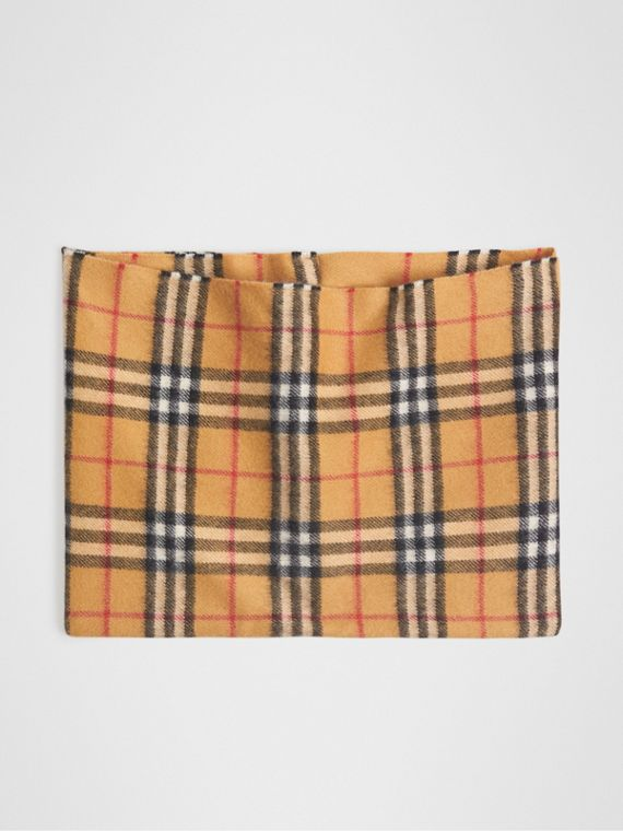 Vintage Check Cashmere Snood in Antique Yellow