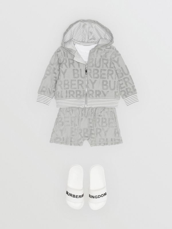 Logo Towelling Drawcord Shorts in Pale Grey - Children | Burberry - cell image 3