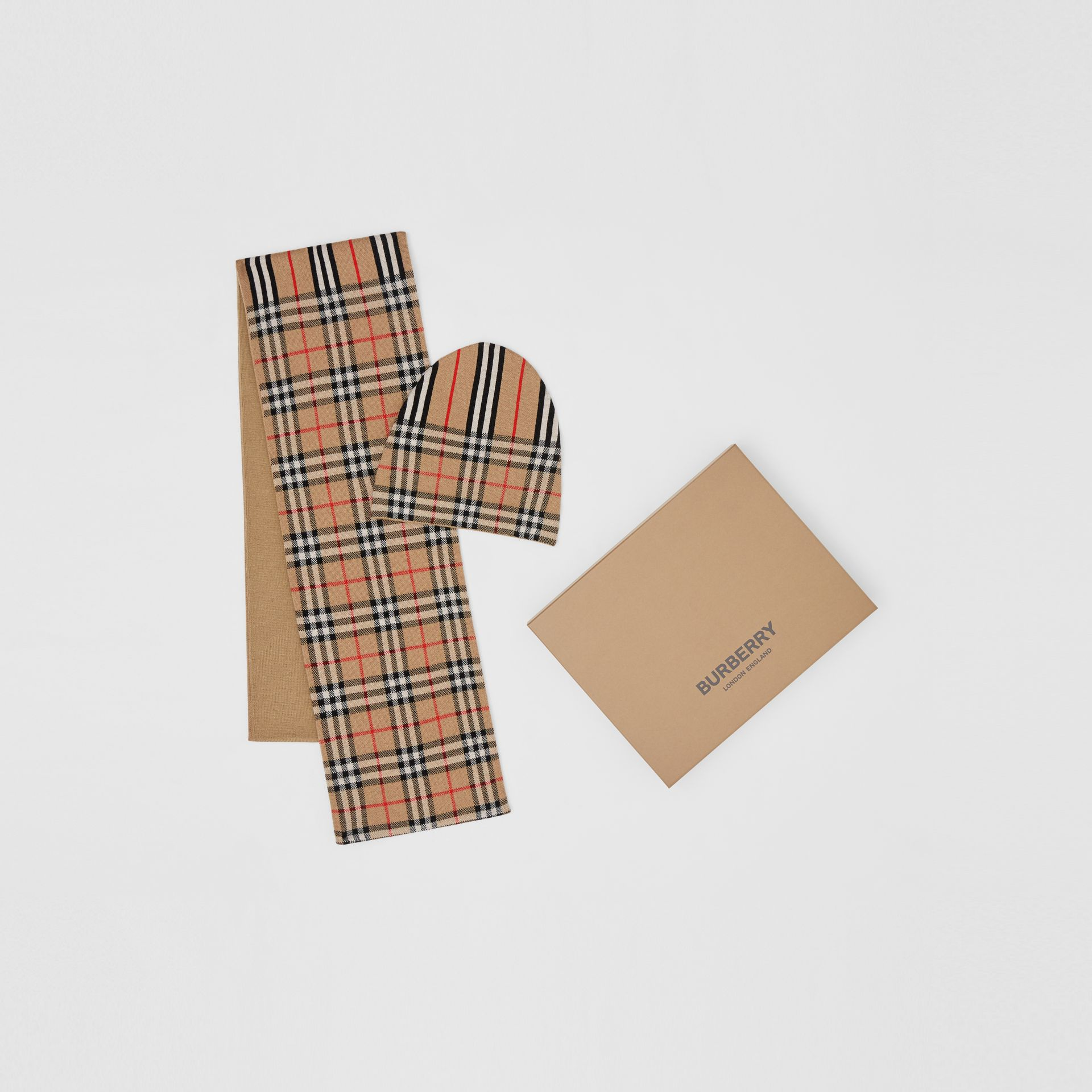Vintage Check and Icon Stripe Wool Two-piece Gift Set in Archive Beige - Children | Burberry - gallery image 0