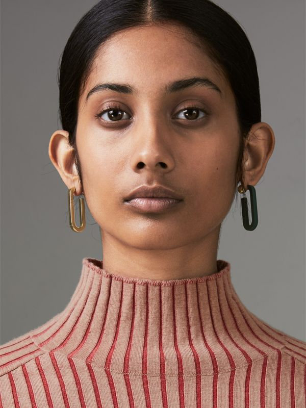 Rubberised and Gold-plated Link Drop Earrings in Light Gold/sea Green - Women | Burberry - cell image 3