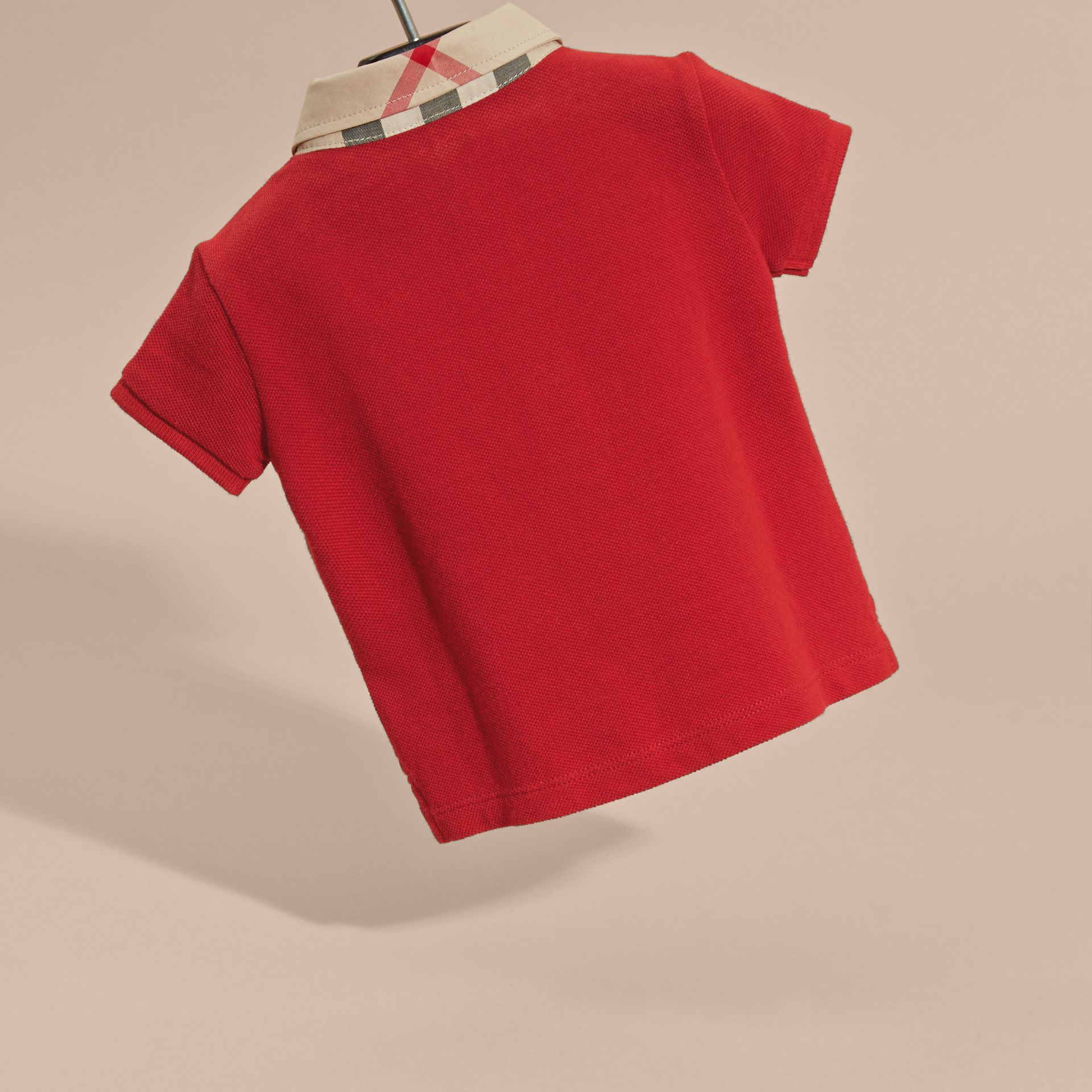 Check Collar Cotton Polo Shirt in Military Red | Burberry Australia - gallery image 4
