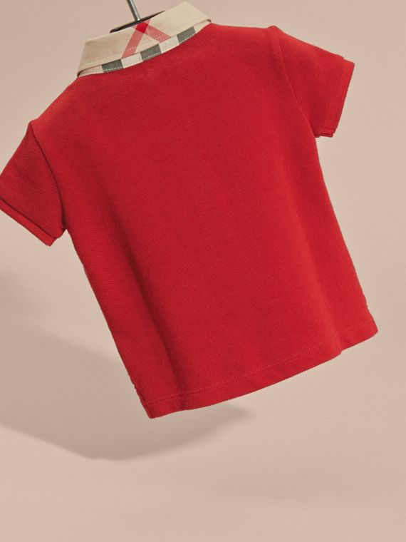 Check Collar Cotton Polo Shirt in Military Red | Burberry Australia - cell image 3