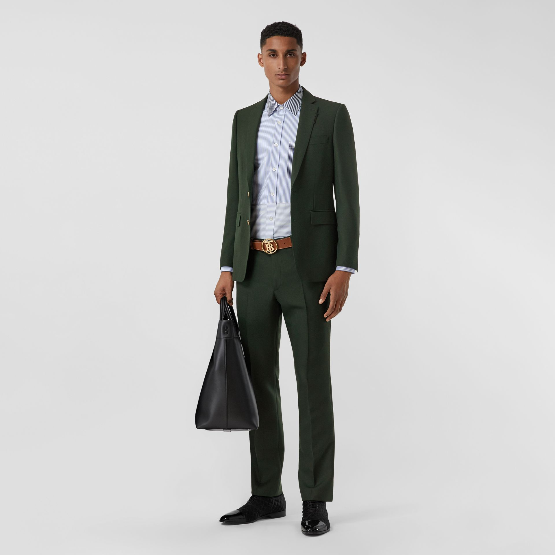 English Fit Wool Mohair Tailored Jacket in Dark Forest Green - Men | Burberry United Kingdom - gallery image 5