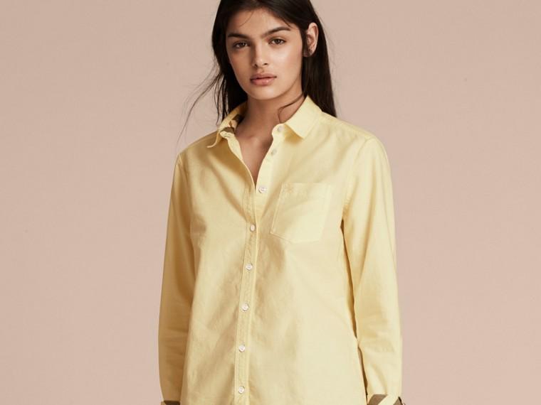 Giallo pallido Camicia in cotone con dettagli check Giallo Pallido - cell image 4