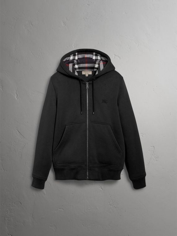 Check Detail Jersey Hooded Top in Black - Men | Burberry Australia - cell image 3