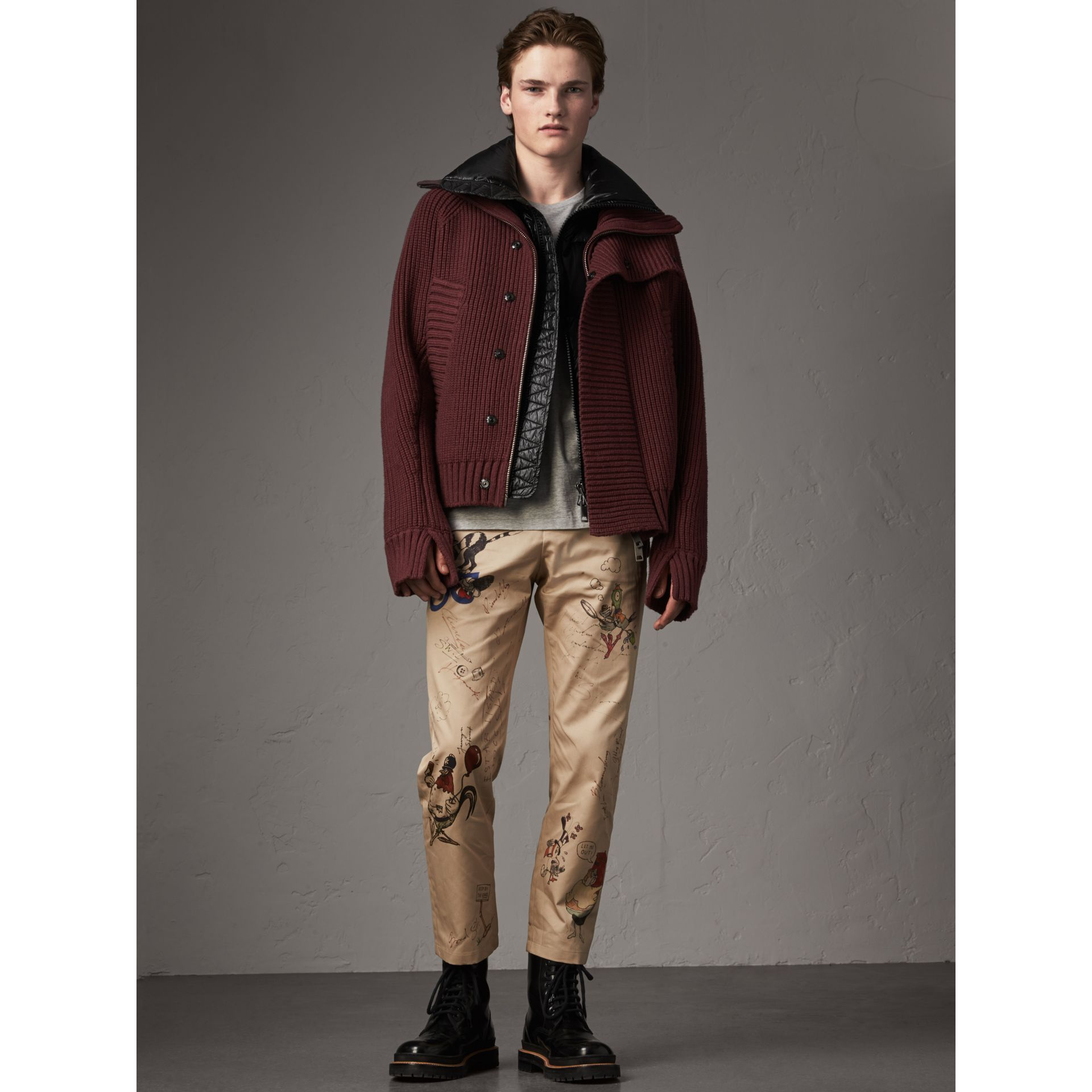 Rib Knit Cotton Blend Jacket with Down-filled Gilet in Mahogany Red - Men | Burberry - gallery image 6