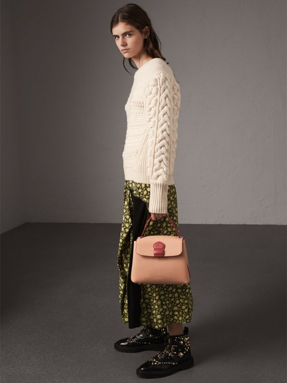 Small Two-tone Leather and House Check Tote in Pale Apricot - Women | Burberry Australia - cell image 3