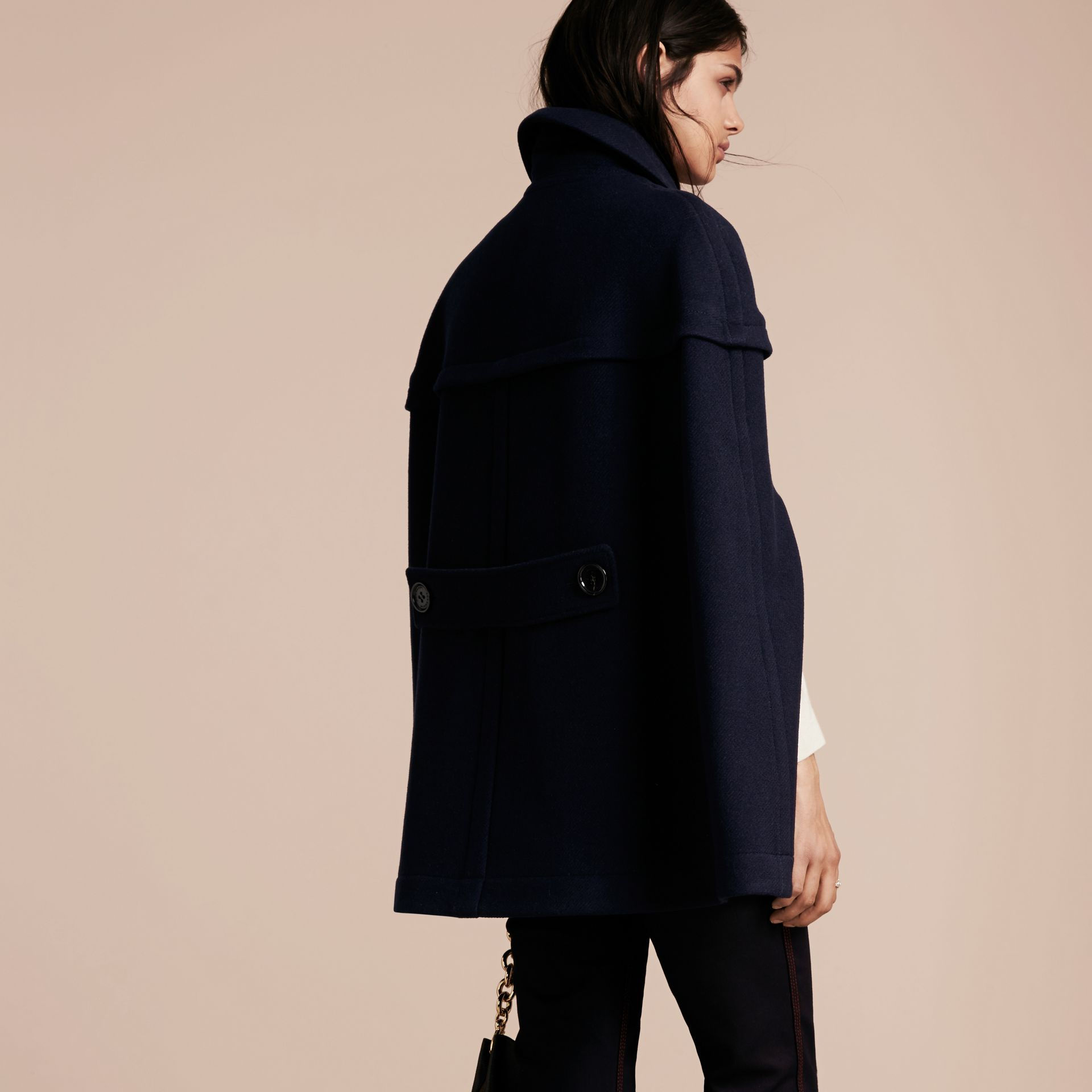Navy Wool Cashmere Duffle Cape Coat Navy - gallery image 3