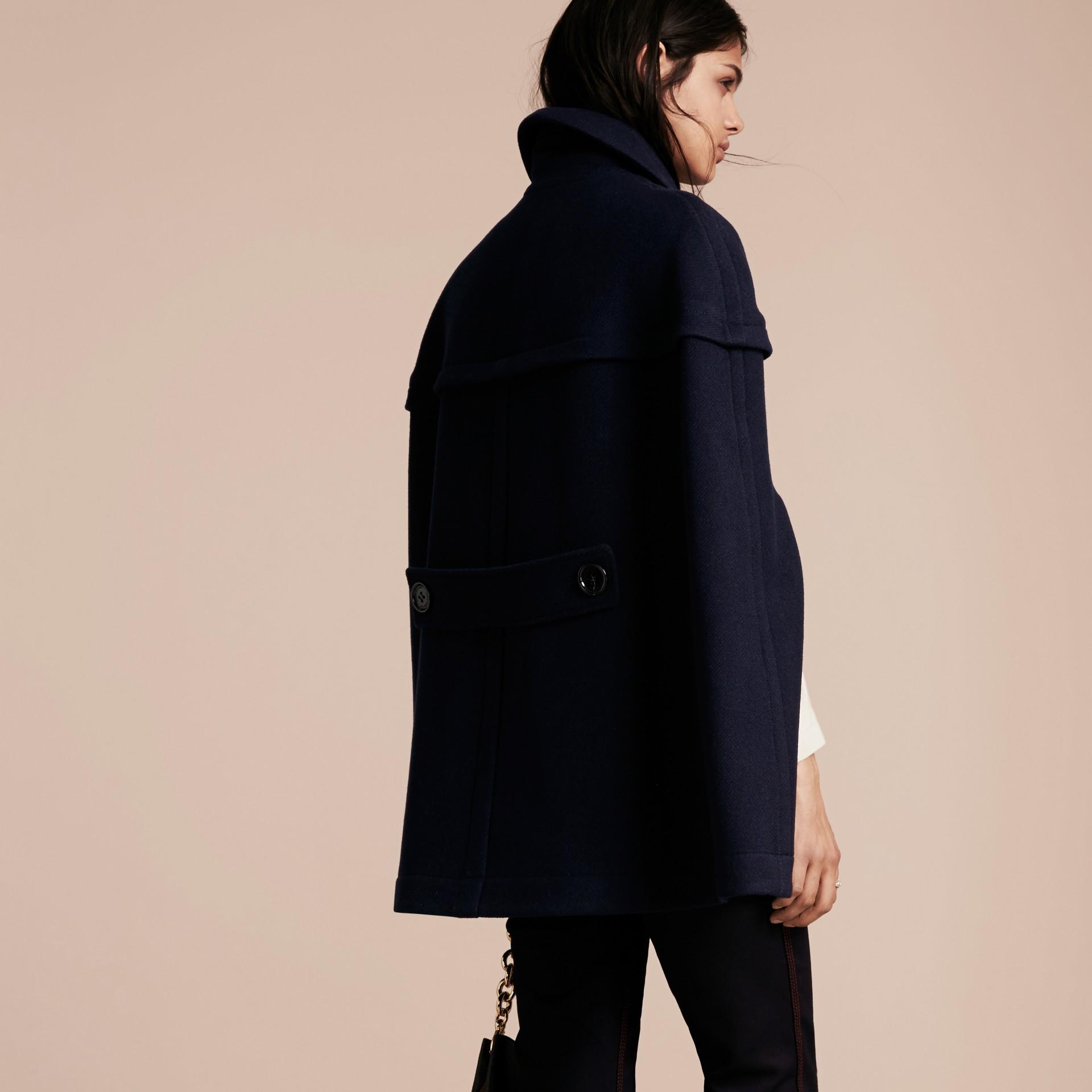 Marine Cape style duffle-coat en laine et cachemire Marine - photo de la galerie 3