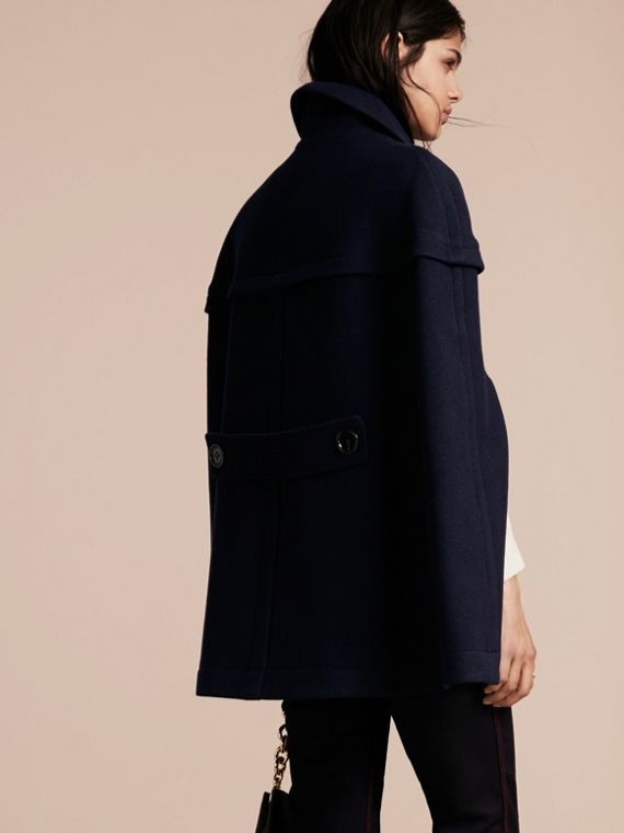 Navy Wool Cashmere Duffle Cape Coat Navy - cell image 2