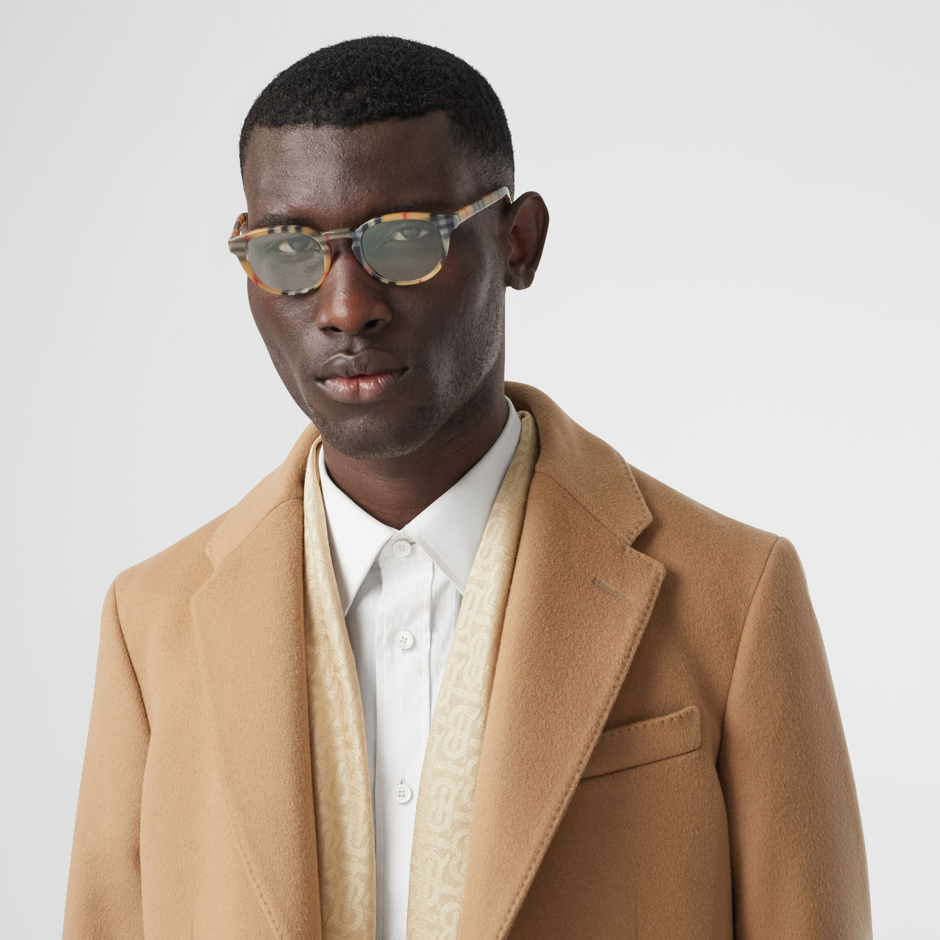 Vintage Check Round Optical Frames in Antique Yellow - Men | Burberry - gallery image 2