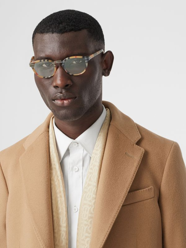 Vintage Check Round Optical Frames in Antique Yellow - Men | Burberry - cell image 2