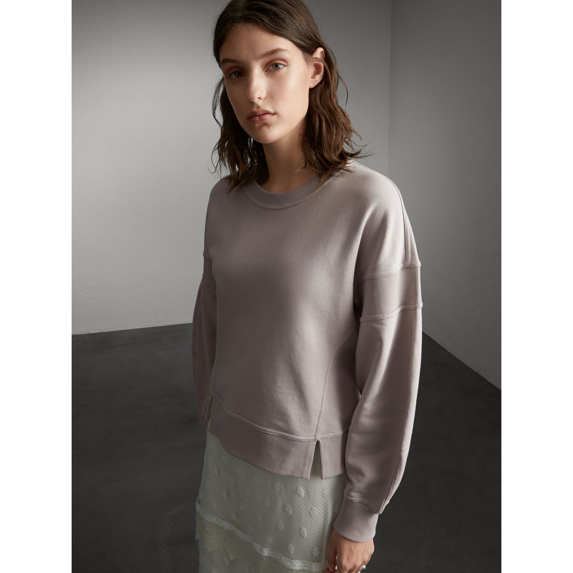 Puffed-sleeve Cotton Panelled Sweatshirt in Pale Mauve - Women | Burberry - gallery image 0
