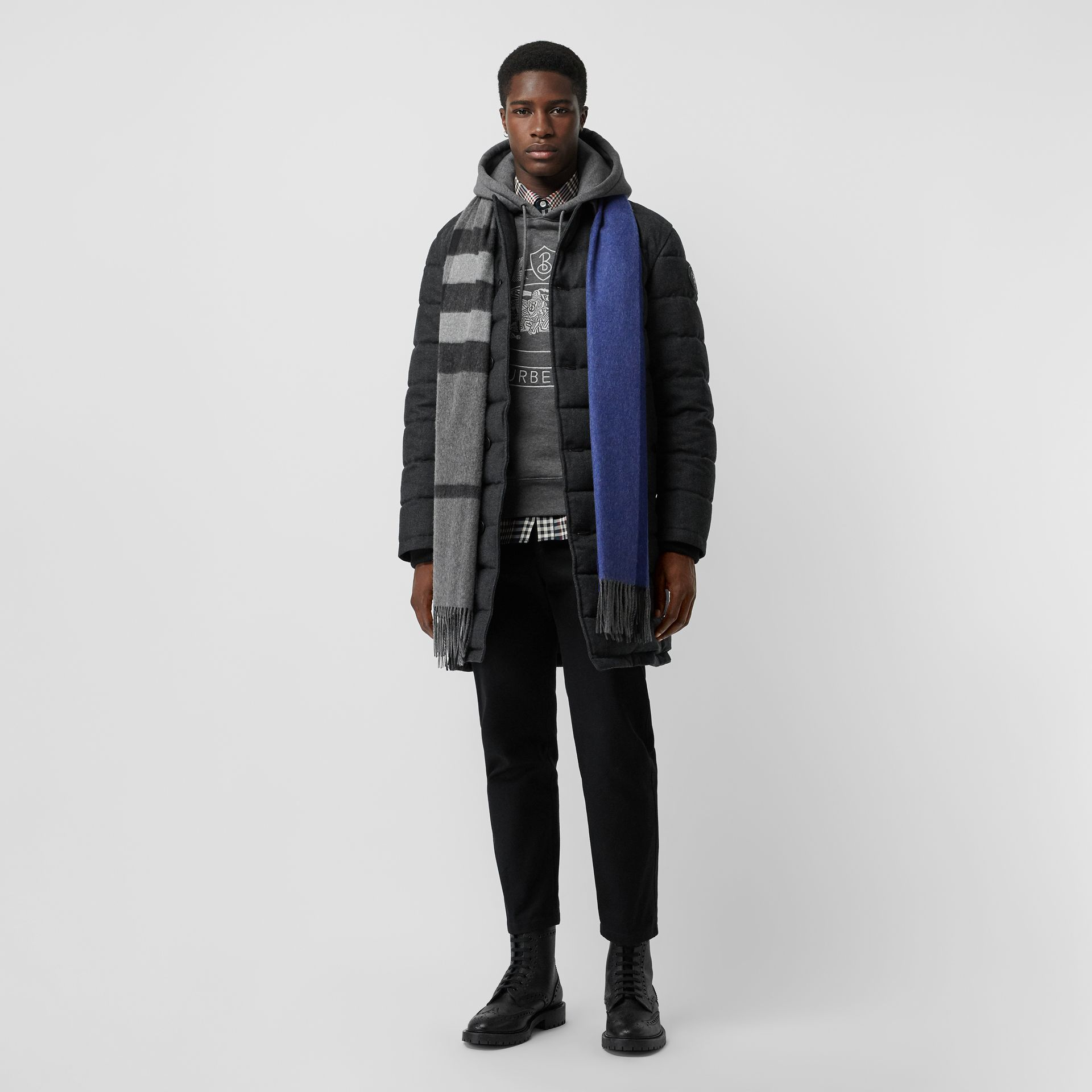 Wool Flannel Down-filled Car Coat in Dark Grey Melange - Men | Burberry United States - gallery image 5