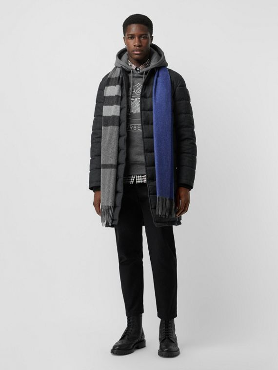 Wool Flannel Down-filled Car Coat in Dark Grey Melange