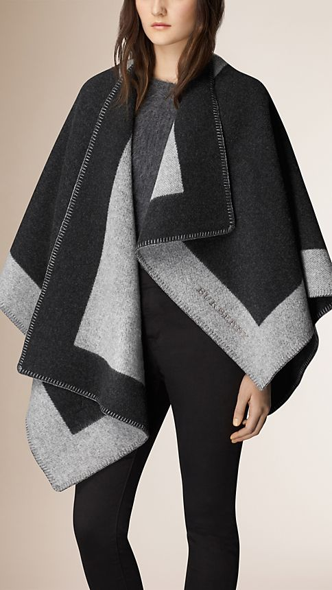 Mid grey melange Wool and Cashmere Blanket Poncho - Image 1