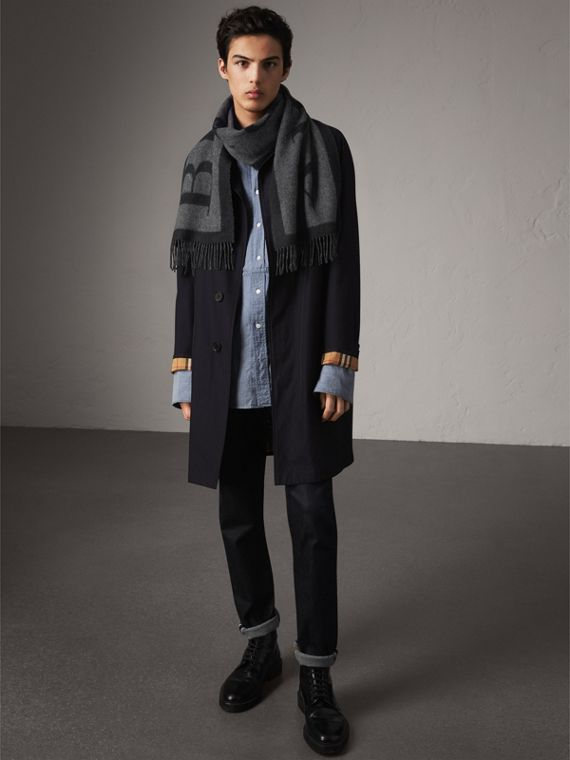 Emblem Print Cashmere Scarf in Black | Burberry - cell image 3