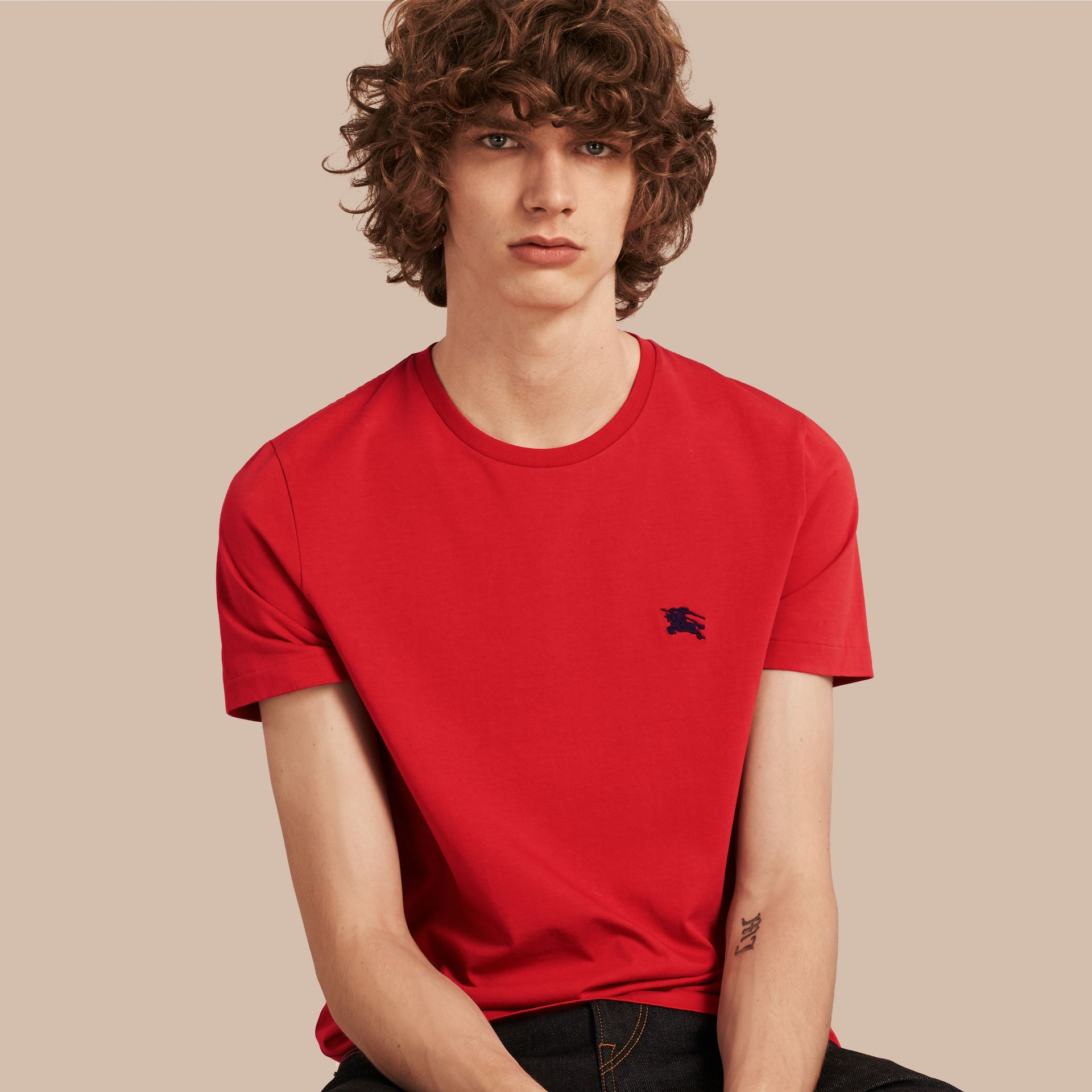 Military red Liquid-soft Cotton T-Shirt Military Red - gallery image 1