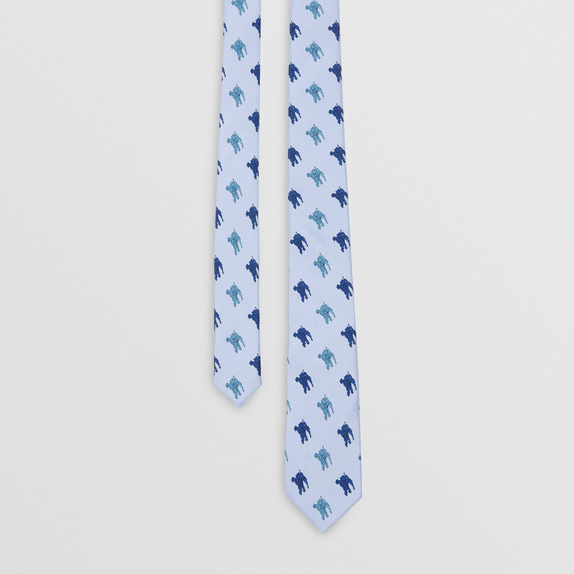 Slim Cut Equestrian Knight Print Silk Tie in Light Blue - Men | Burberry - gallery image 0