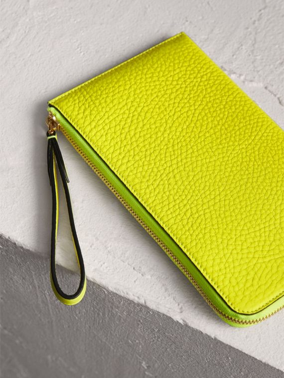 Embossed Neon Leather Travel Wallet in Bright Yellow | Burberry - cell image 2