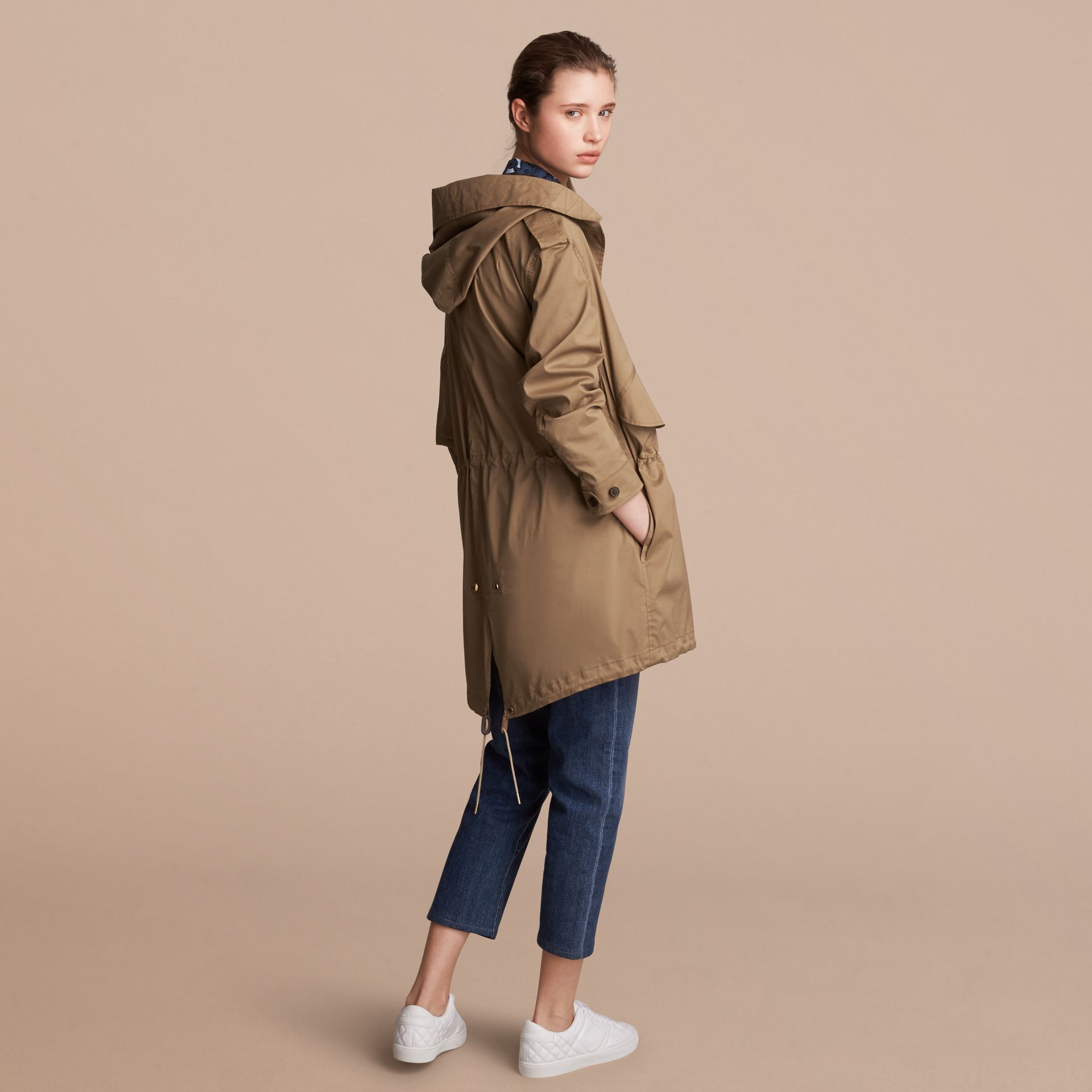 Hooded Water-resistant Parka in Flax Brown - Women | Burberry United States - gallery image 3