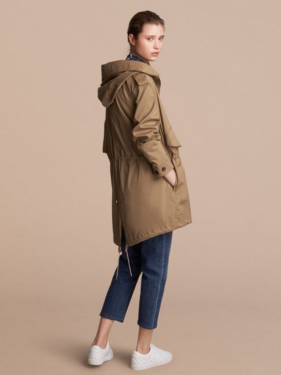 Hooded Water-resistant Parka in Flax Brown - Women | Burberry Australia - cell image 2