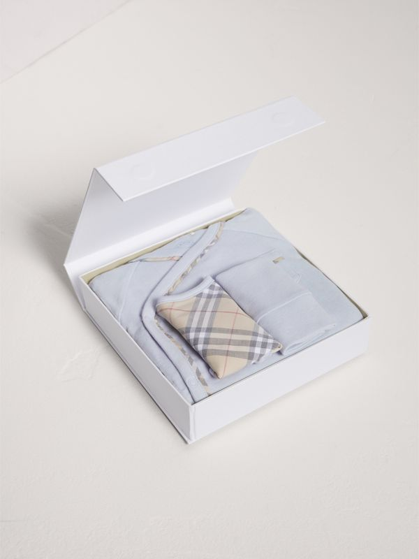 Check Cotton Three-piece Baby Gift Set in Ice Blue | Burberry - cell image 2