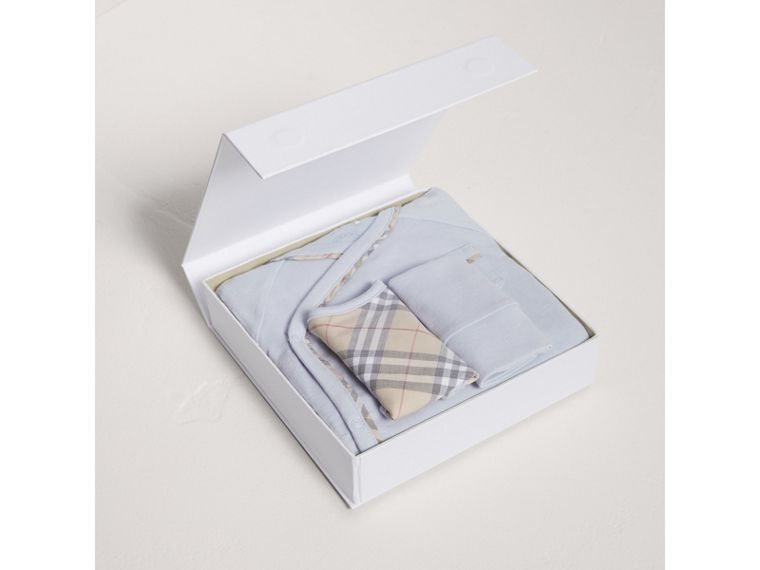 Check Cotton Three-piece Baby Gift Set in Ice Blue | Burberry Singapore - cell image 2