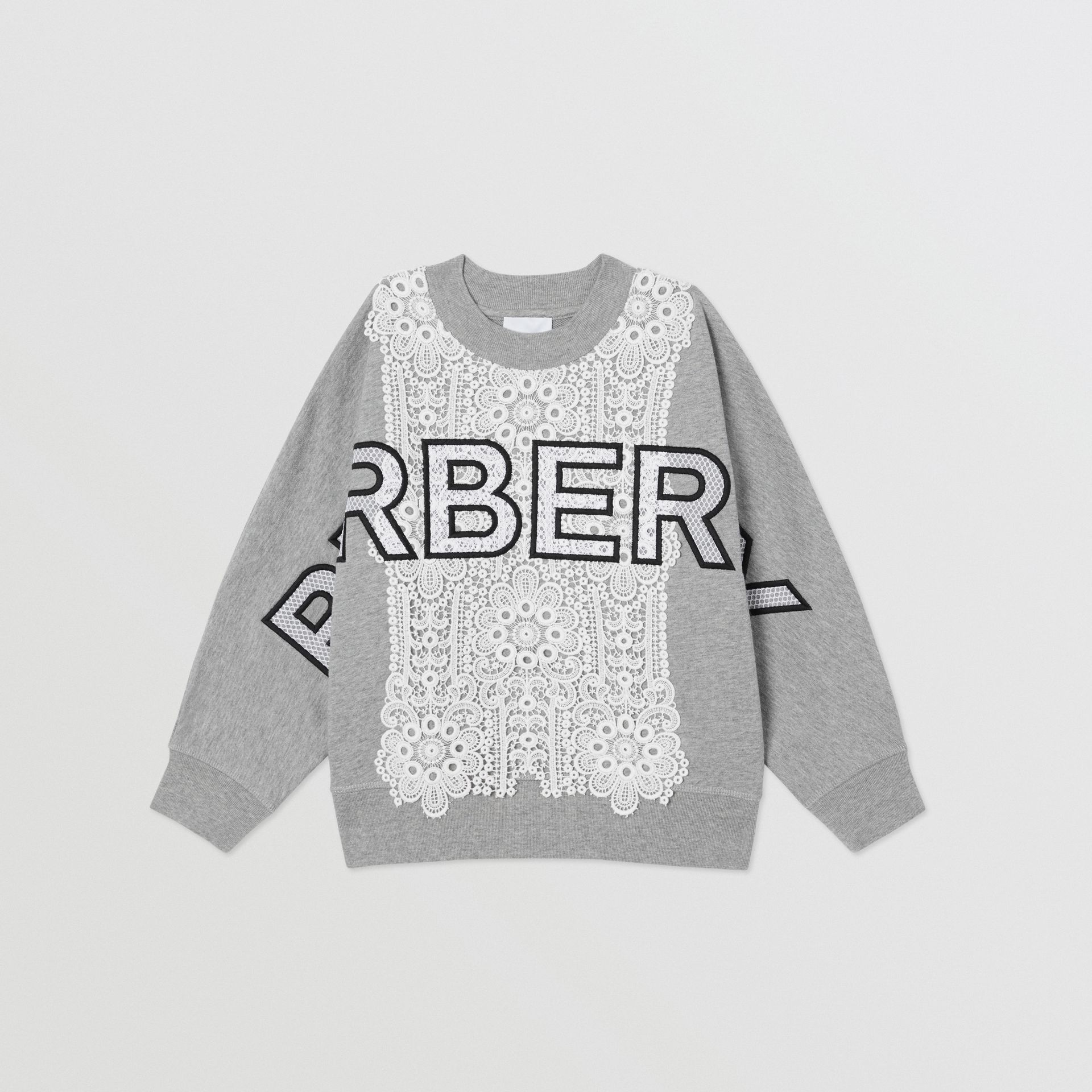 Logo Embroidered Lace Panel Cotton Sweatshirt in Grey Melange | Burberry - gallery image 0