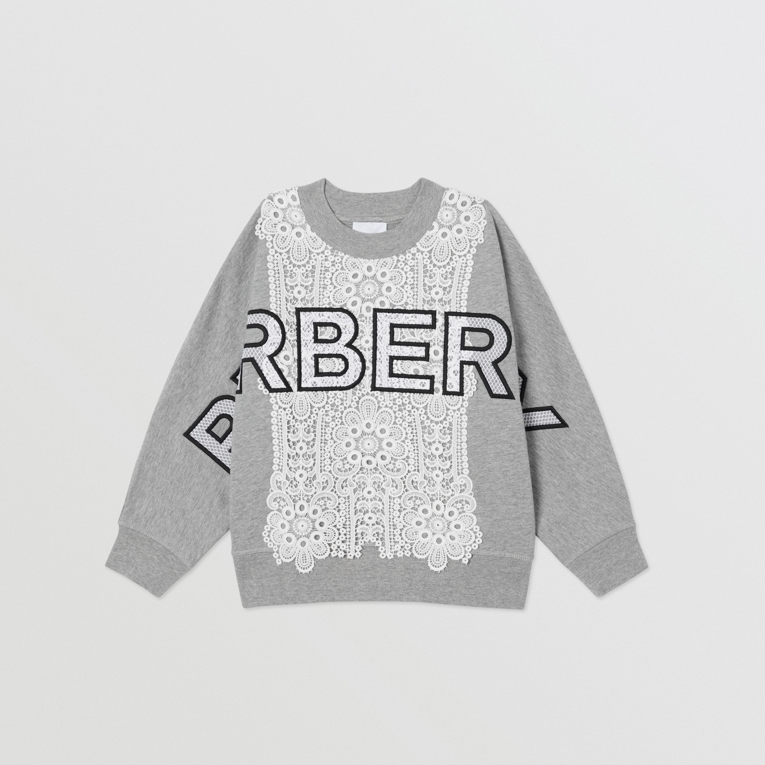 Logo Embroidered Lace Panel Cotton Sweatshirt in Grey Melange | Burberry United Kingdom - 1
