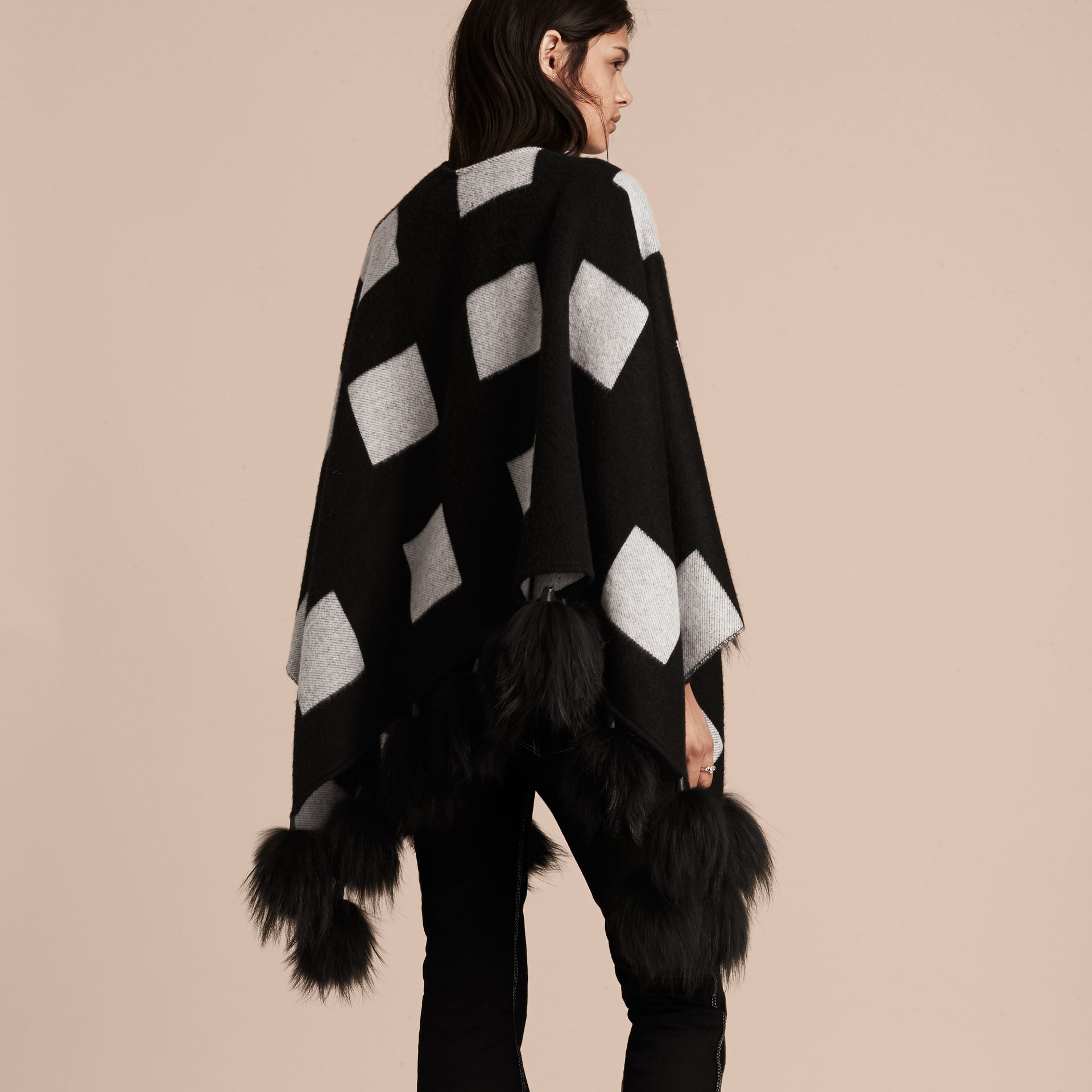 Black/white Check Jacquard Cashmere Poncho with Raccoon Pom-poms - gallery image 3