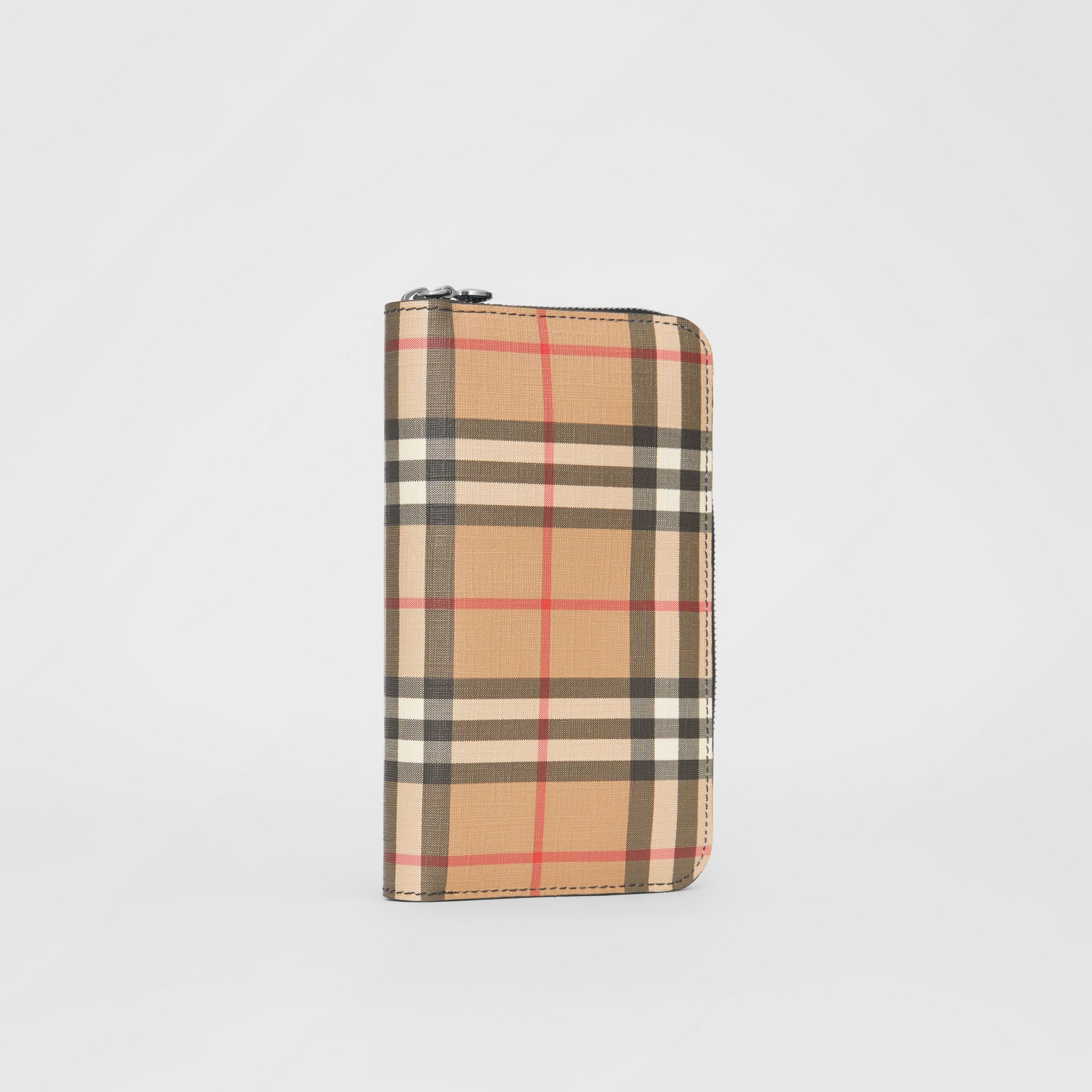 Vintage Check and Leather Ziparound Wallet in Black - Women | Burberry - 4