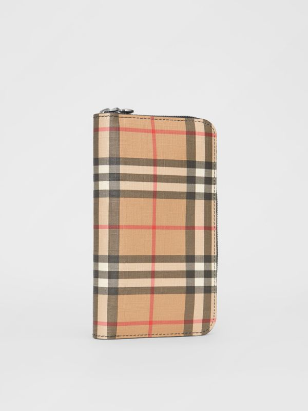 Vintage Check and Leather Ziparound Wallet in Black - Women | Burberry - cell image 3