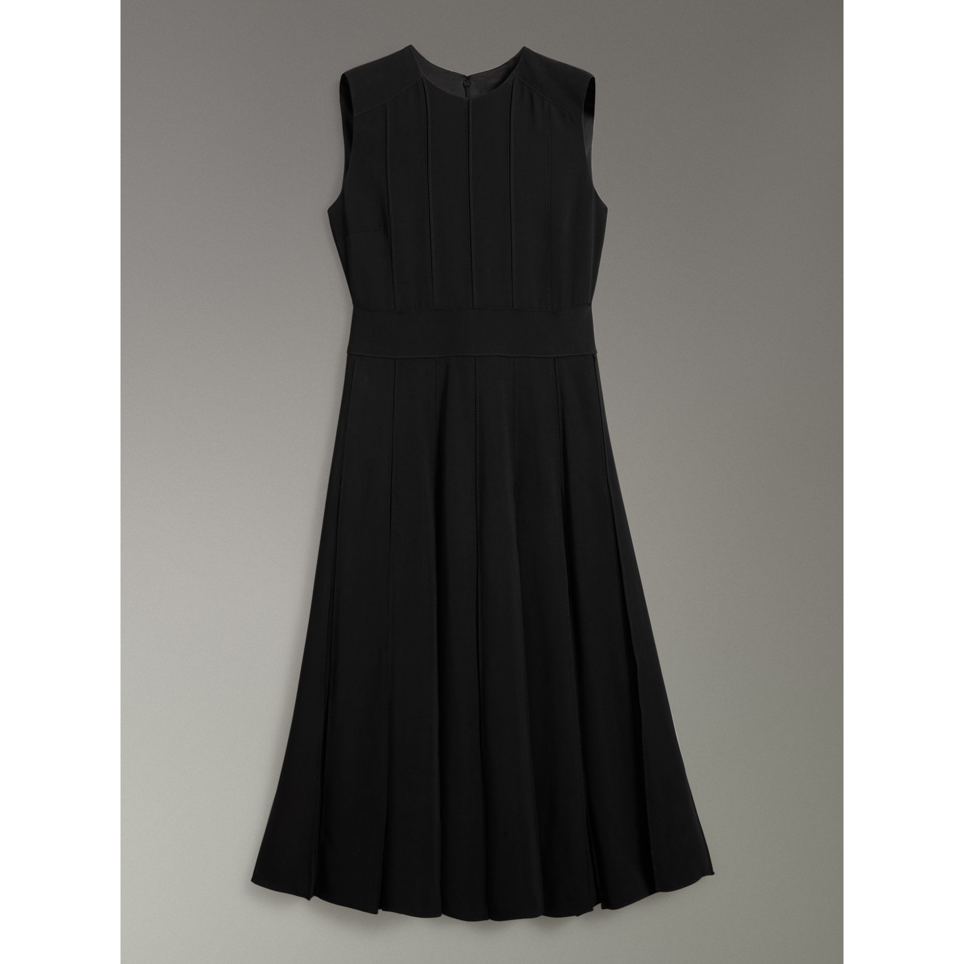 Sleeveless Pleat Detail Georgette Dress in Black - Women | Burberry - gallery image 3