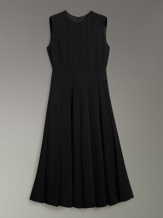 Sleeveless Pleat Detail Georgette Dress in Black - Women | Burberry - cell image 3